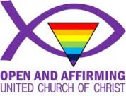 Logo of the Open and Affirming coalition of the United Church of Christ. Logo is a clickable link to ONA website.