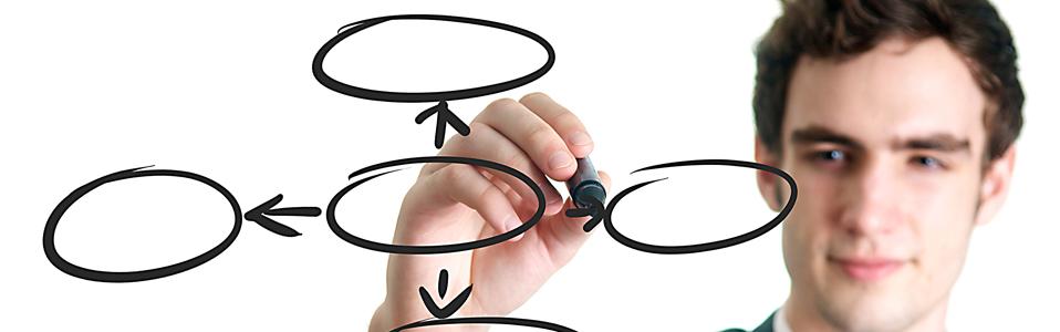 businessman writing empty circles