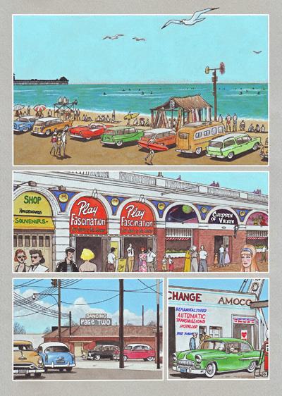 Pagina del cómic CAZADOR DE SONRISAS de Agustín Ferrer Casas en la que se puede disfrutar de una vistazo del estilo de vida estadounidense a mediados de los años 60