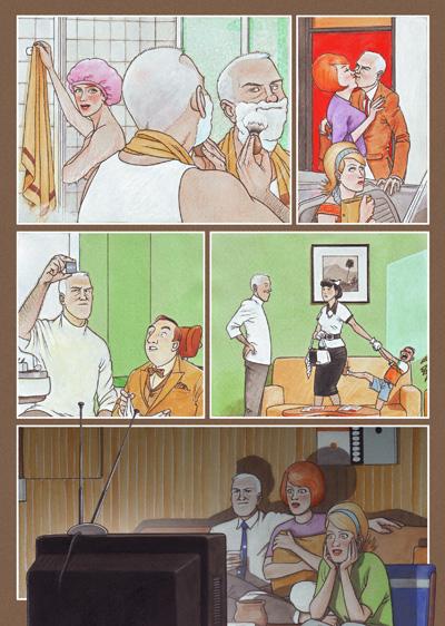Pagina del cómic CAZADOR DE SONRISAS de Agustín Ferrer Casas en la que podemos ver el dia a dia de su protaginista, el Doctor Dunne