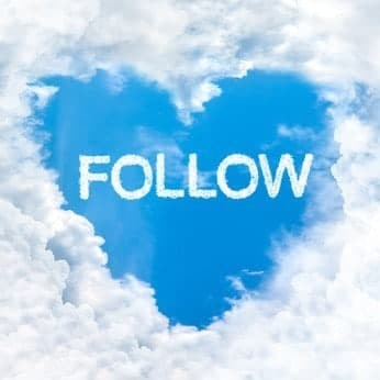 follow word inside heart cloud  blue sky background only