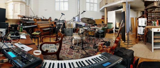 Grand Chapel Studios - Live Room - Adam French Setup - Synthesizers, Piano, Ampeg, Fender Twin, Drum Kit
