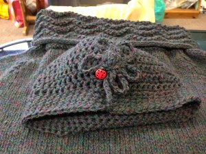 Pure shetland wool hand knitted jumper and crochet hat to match