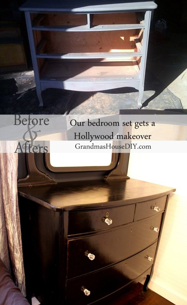 Hollywood Dresser With Black Paint Glass Knobs And Some Elbow Grease
