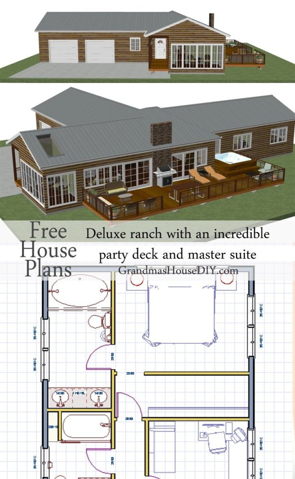 House plan deluxe ranch with an incredible party deck for Incredible house plans