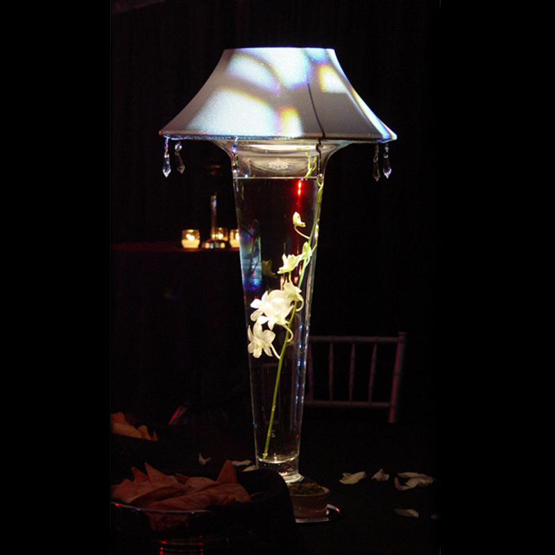 Lighted Lamp Shade And 24 Tall Glass Vase