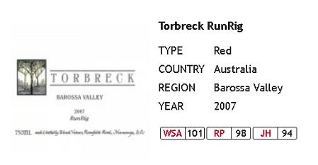 wine shop asia 100 point wines torbreck runrig 2007