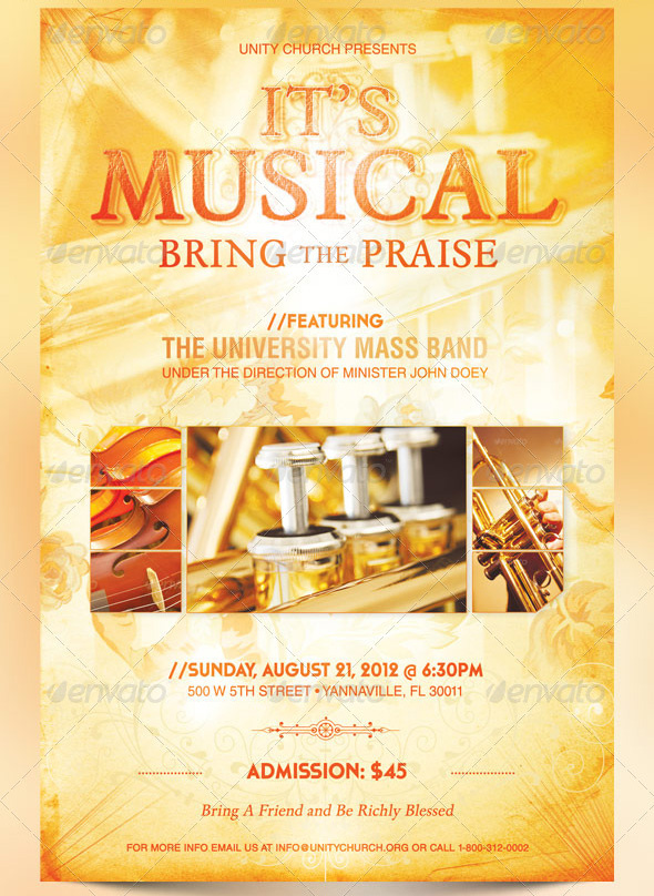 it u0026 39 s musical event flyer  ticket and cd template