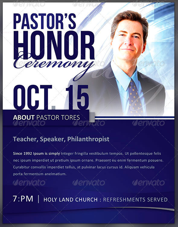 Pastor Appreciation Flyer Templates Inspiks Market