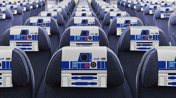 The interior of the jet is adorned with R2-D2 headrests, paper napkins and cups. (Image: ANA)