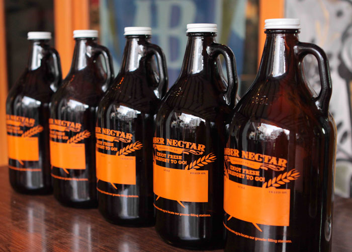 Beer Growlers from Amber Nectar