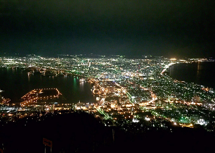 Night view of the bay area from Mount Hakodate