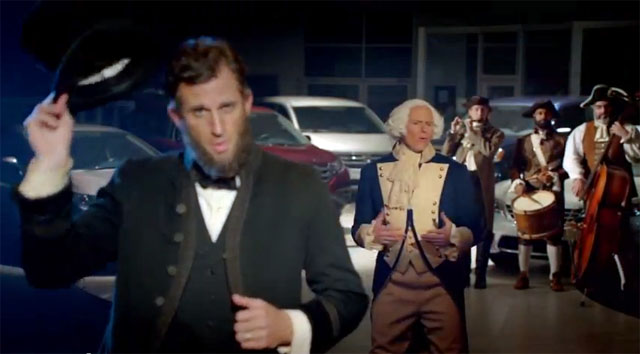 Honda Presidents Day car commercial - Abraham Lincoln and George Washington