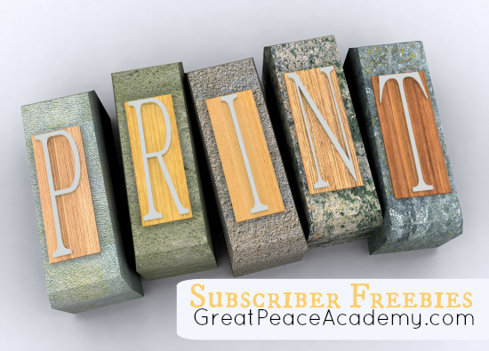 Freebies for Subscribers at Great Peace Academy