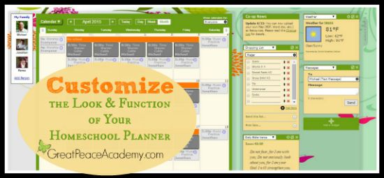 Customize the Look and Function of Your Homeschool Planner with Homeschool Planet, Review at Great Peace Academy