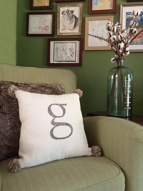 monogram pom pom pillow