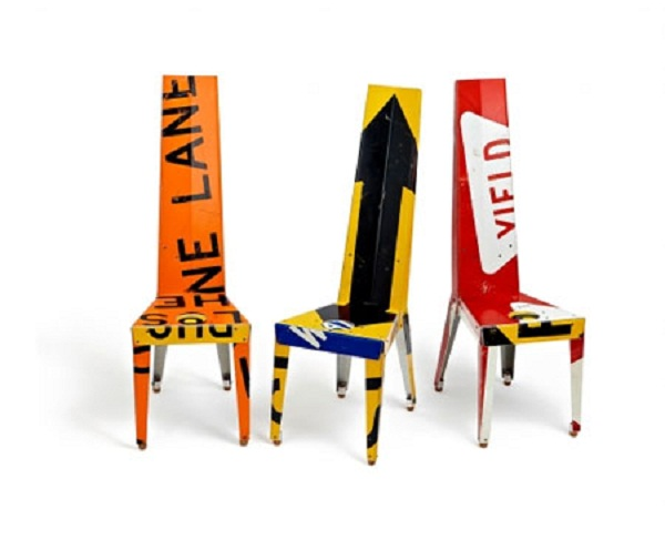 Billboard And Traffic Signs, Recycled For A Green Furniture