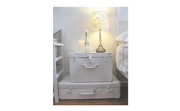 White suitcase nightstand