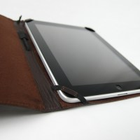 Top-Grain Leather Case for iPad, open interior view