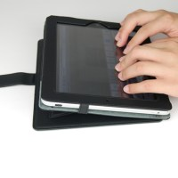 Leather Case with Built-in Stand, stand in typing position, lowest possible angle