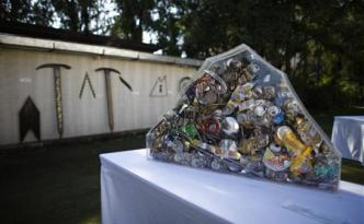 Art made from trash picked from Mount Everest are pictured at a visual art symposium in Kathmandu