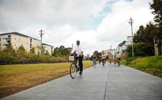 Atlanta Mayor Kasim Reed Riding on the BeltLine