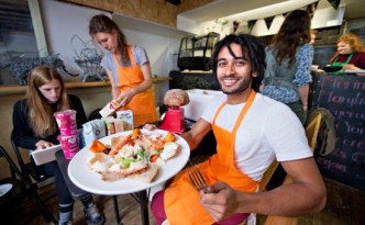 Skipchen chef Dylan Rakhra with the crab and prawn salad
