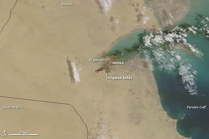 Tire Fire In Kuwait Seen From Space