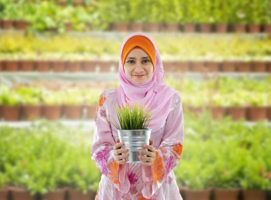 green-muslims-garden-islam islamic gardens, muslim woman holding plant