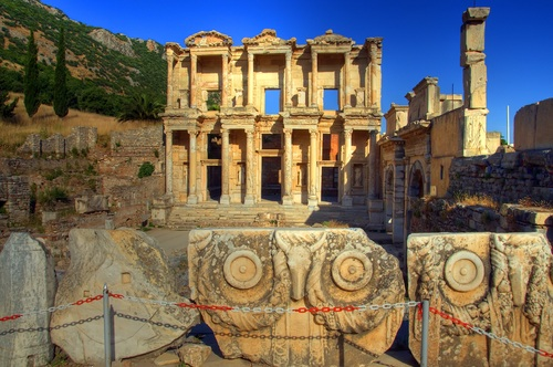 Turkey, library, Celsus, landmark, education, history, art, books, public, ruins