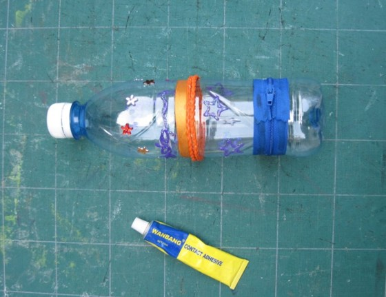 make pencil case upcycled water bottle