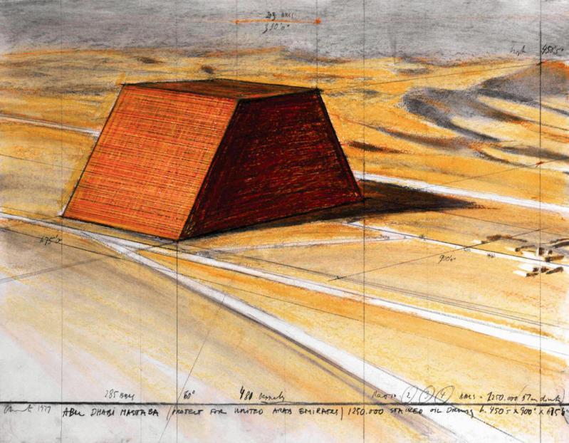 Christo Stacks Oil Drums in Abu Dhabi Mastaba Artwork Mimicking Pyramids