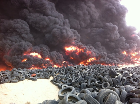 kuwait trash tire fire waste landfill