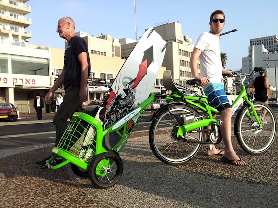 green transportation, design, Tel-O-Fun, Tel Aviv, urban cycling, shared bicycles, bike trailer