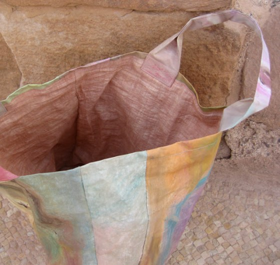 mud dyed lining in Safi painted bag, Jean Bradbury in Safi, Dead Sea jordan