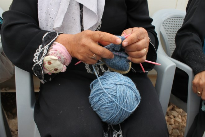 knitting in Zaatari