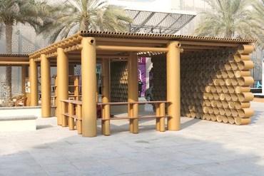 Shigeru Ban's Design Souq pavilion is made entirely of cardboard in Abu Dhabi