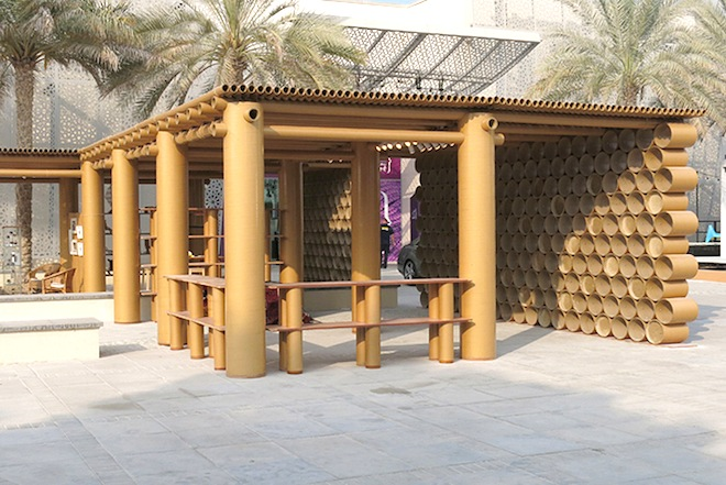 Shigeru Ban's Design Souq pavilion is made entirely of cardboard in Abu Dhabi