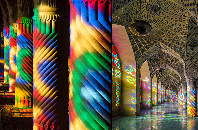 Sunshine turns an Iranian mosque into a kaleidoscope!