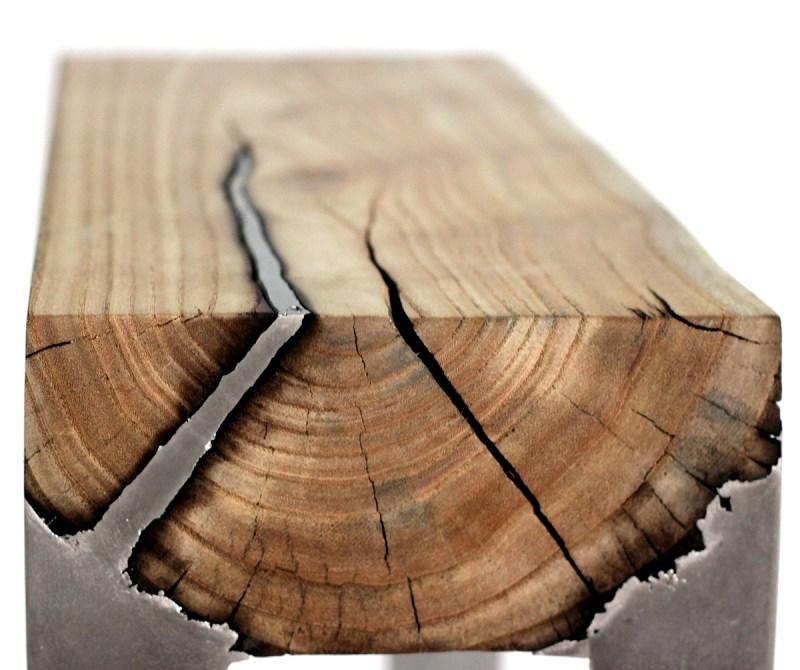 Hilla Shamia casts wood and aluminum with unusual burnt edges