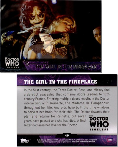 #49 The Girl in the Fireplace Trading Card 2016 Topps Doctor Who Timeless Set Green Foil Parallel - Descartes' Daughter and Doctor Who Clockwork Repair Droids