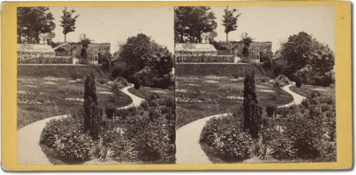 Stereoscope view of the conservatories in Central Park - supported - Zealandia Castle and John Evans Brown's Family – Greeting from the Past