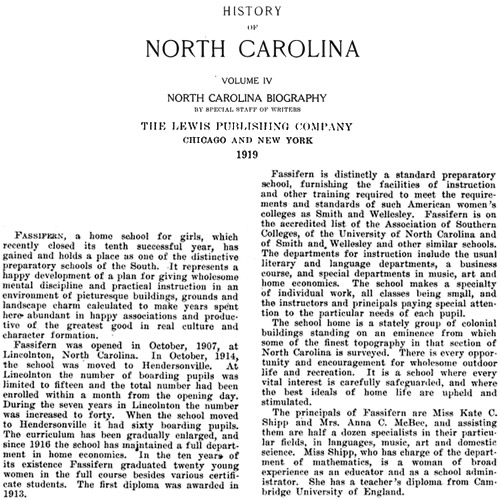 History of North Carolina from 1919 on Fassifern School for Girls