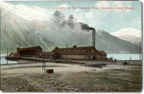 Postcard of A Portion of the Treadwell Mine, Douglass Island, Alaska That is the pump house at the end of the pier.
