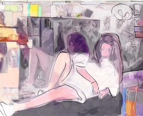 portrait of Zisi reclining by Gregory Beylerian