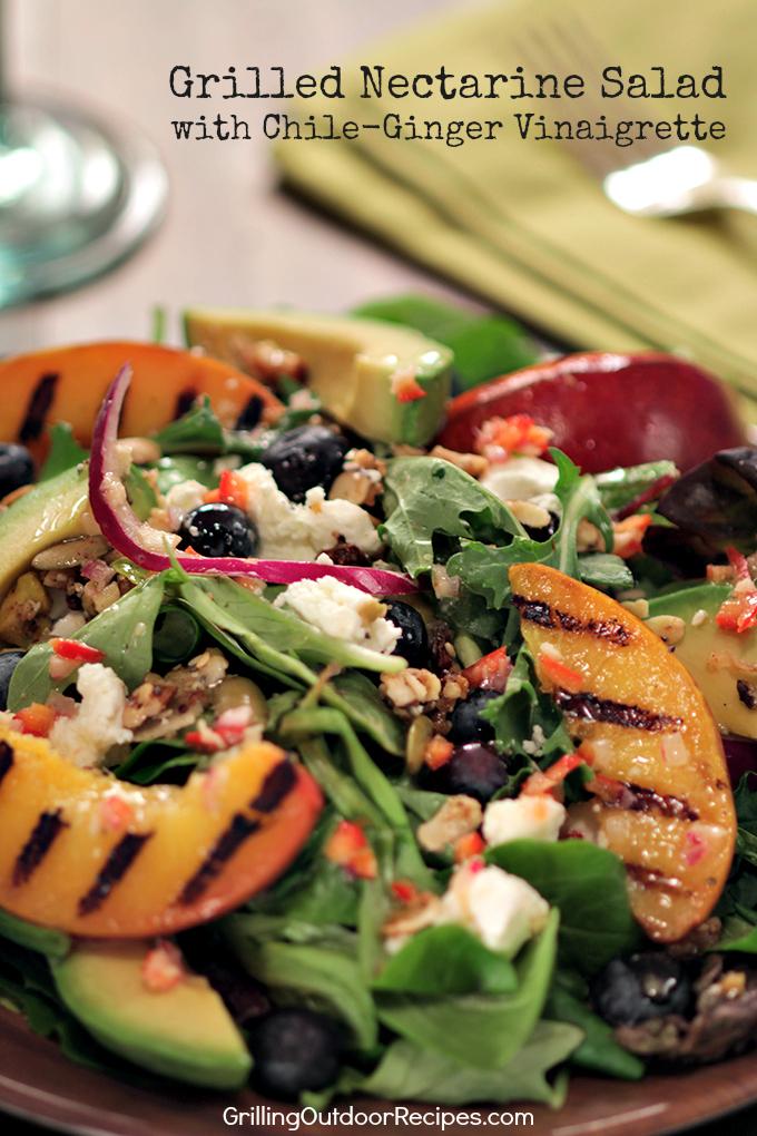 Grilled Nectarine Salad - v