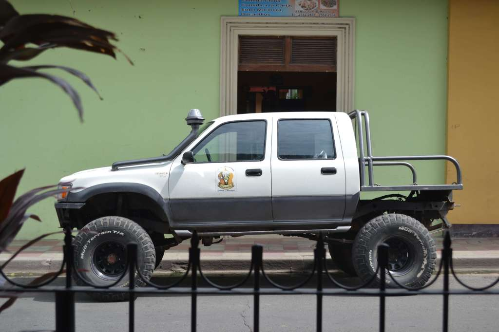This is the El Camello truck. It can drive straight up a mountain on those wheels. When it pulled up it had a single bag of onions on the back. Who knows how many mountains they had to drive up to buy them?!