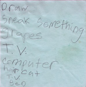 A post-it with the items Draw, Sneak Something, Grapes, TV, Computer, Haircut, TV and Bed