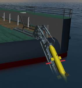 Hawboldt Industries AUV Launch and Recovery System with the ISE Explorer AUV