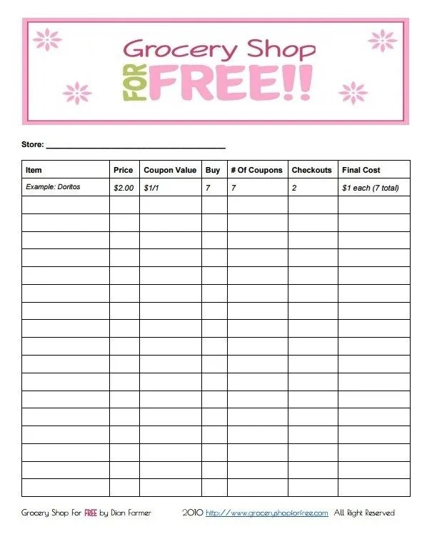 FREE Printable Coupon Grocery Shopping List!